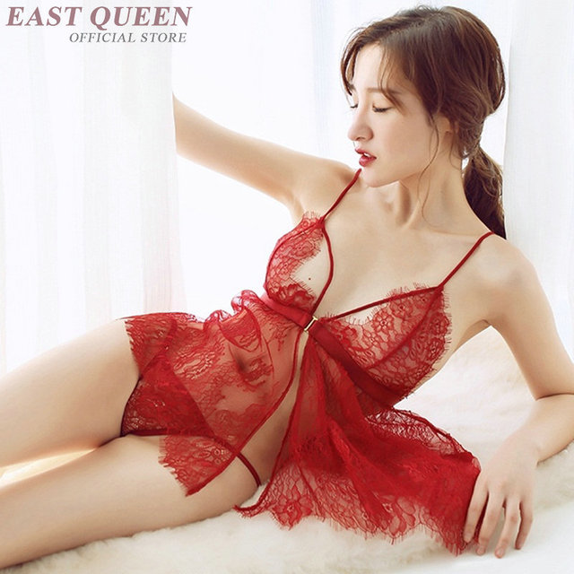 Novelty special use lingerie for sex see through nightgown women lace nightwear sexy sexy clothes for sex transparent  FF723 6