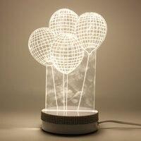 Bonito Diamante Balão Forma 3D Luz Da Noite LEVOU Roqueiro Interruptor de Luz Quente Lâmpada de Mesa Mesa De Presente de Casamento Bar Decoração Da Sua Casa