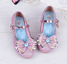 2018 Children Princess Sandals Kids Girls Crystal Bowtie Leather Shoes Party Dancing Hight Heels Shoes For Girls Kid 2018 toddler girls princess crystal rhinestone sandals little kid glitter sequin pumps big children pageant dancing dress shoes