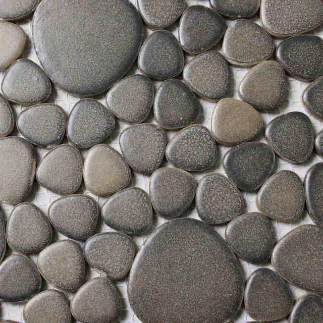 Brown Color Matt Ceramic Pebble Porcelain Mosaic Tiles Fireplace