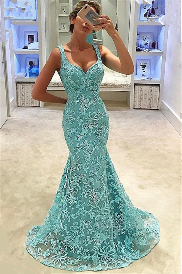 Stunning Beautiful Green   Prom     Dresses   Long Mermaid Lace Evening   Dress   Elegant Women Formal Party Gown robe de bal longue