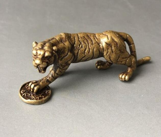 China's Archaize Pure Brass Tiger Small Statue #6