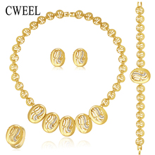 Women Jewelry Sets For Gold Plated Wedding Party Bridal Accessories Necklace Fashion Imitated Crystal&Rhinestone Pendant Costume