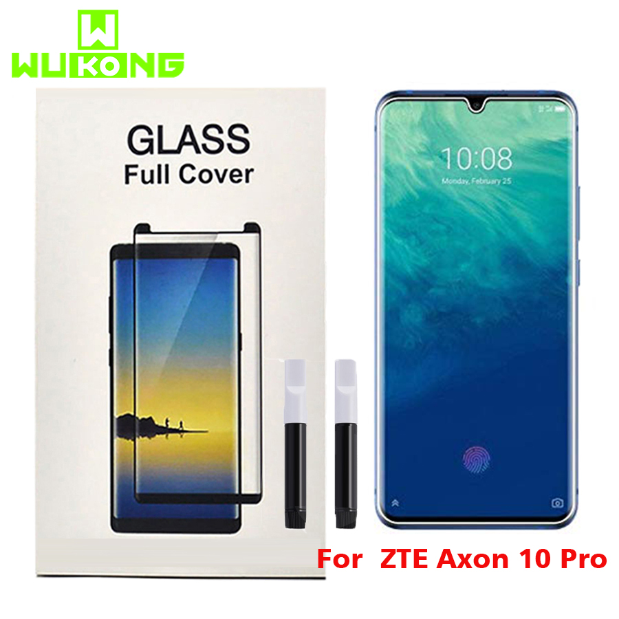 UV Liquid FullGlue Tempered Glass For ZTE Axon 10 Pro Screen Protector HW Mate 30 Pro Film Protective For Samsung Note 10 Plus