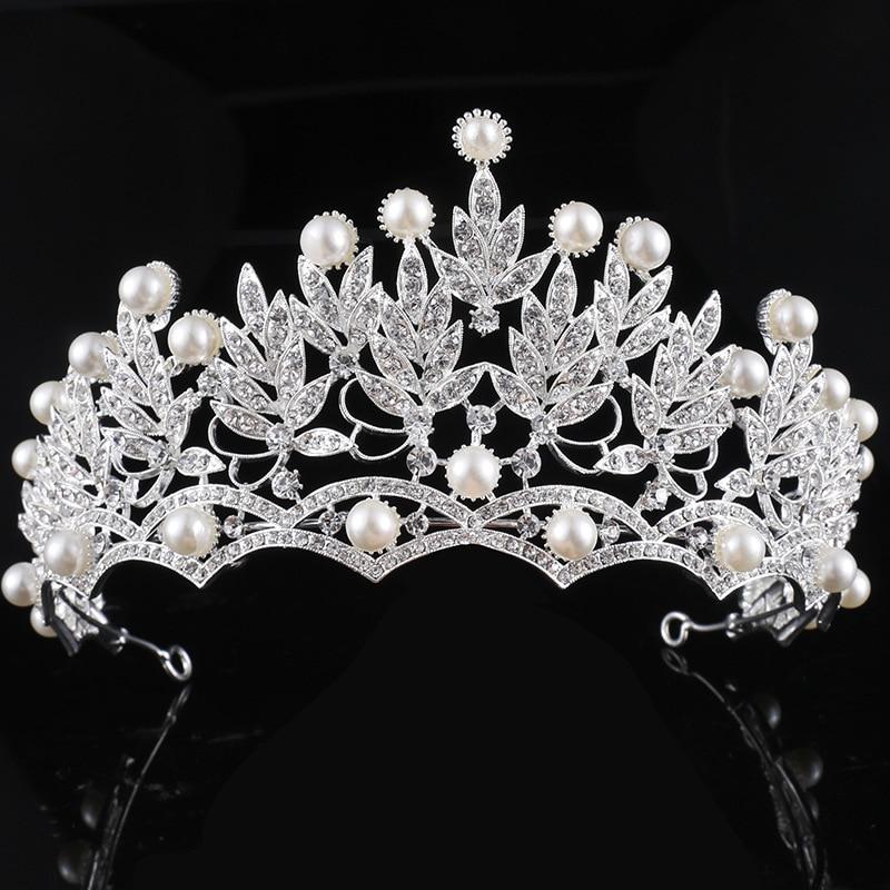 KMVEXO Crystal Pearl Jewelry Silver Plated Tiaras Crown Bridal Wedding Hair Jewelry Rhinestone Queen Pageant Prom Tiara Headband