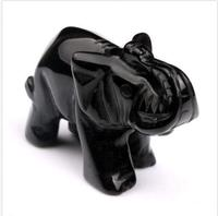 Natural Obsidian Carved Crystal Elephant Crystal Healing