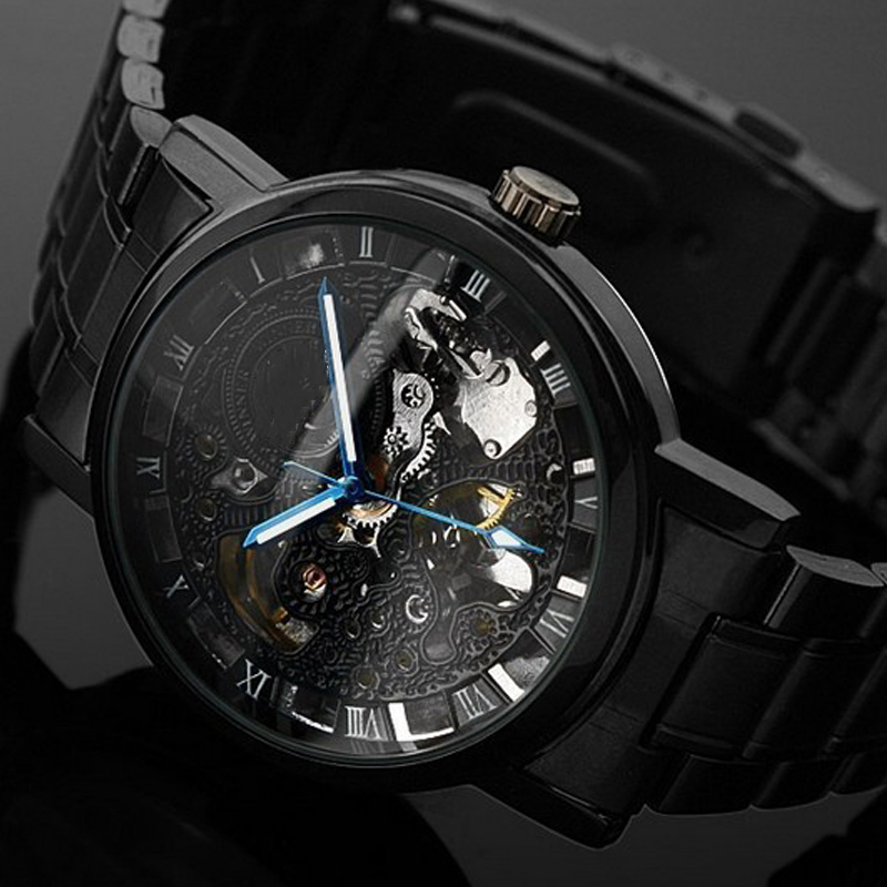 Men Mechanical Watch Brand Luxury Skeleton WristWatch Stainless Steel Antique Fashion Casual Automatic Self Wind Watches LZ2108 2015 new fashion brand pu leather strap men automatic mechanical watch skeleton self wind watch for man dress casual wristwatch