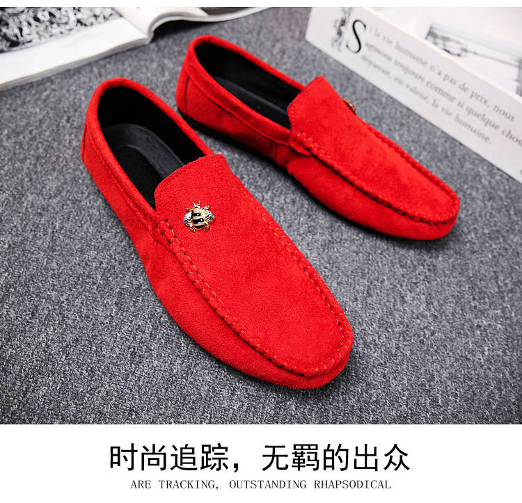 Juyouki Natural Cow Suede Bees Men's Casual Shoes Alligator Style Men Loafers Slip on Lazy Shoes Wiht Male Outdoor Shoes 10
