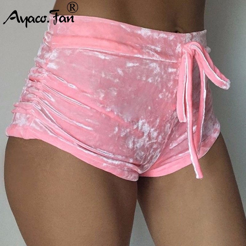 Sports-Shorts Soft-Sportwear Bodycon Elastic Pink Velvet Workout Flannel Sexy Summer