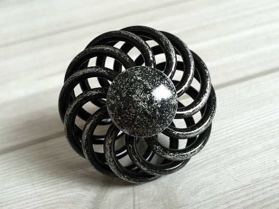 Antique Black Silver Dresser Drawer Knobs Pulls Handles Wrought Iron Look Kitchen Cabinet Door Knob Handle Pull Hardware Rustic 5 silver white dresser kitchen cabinet door handles knobs silver black drawer cupboard knobs pulls 160mm modern simple handles