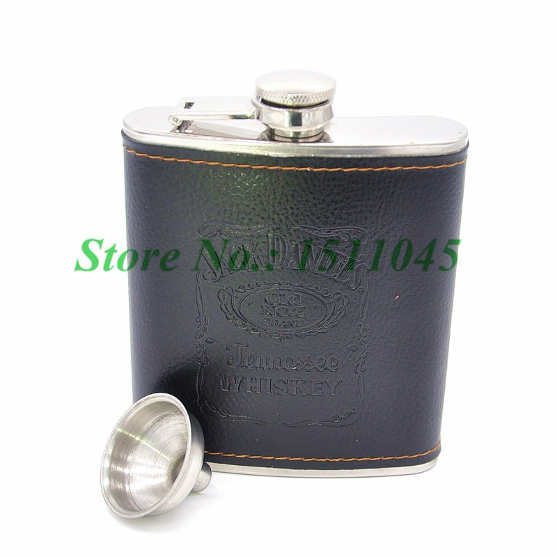 Portable Stainless Steel Black PU Leather Wrap 7oz Hip Flask whiskey bottle Shot Drinking Flagon Leak Proof Free shipping