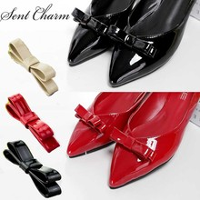 SENTCHARM Solid Color PU Bowknot Shoes Accessories Fit For Women Leather High Heels Loafers Fashionable Elegant