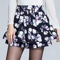 Floral Impressão Saias Das Mulheres Saia de Cintura Alta Tamanho Grande Feminino Elástico Na Cintura Plissada Uma Linha de Inverno Saia Shorts Culottes Magros