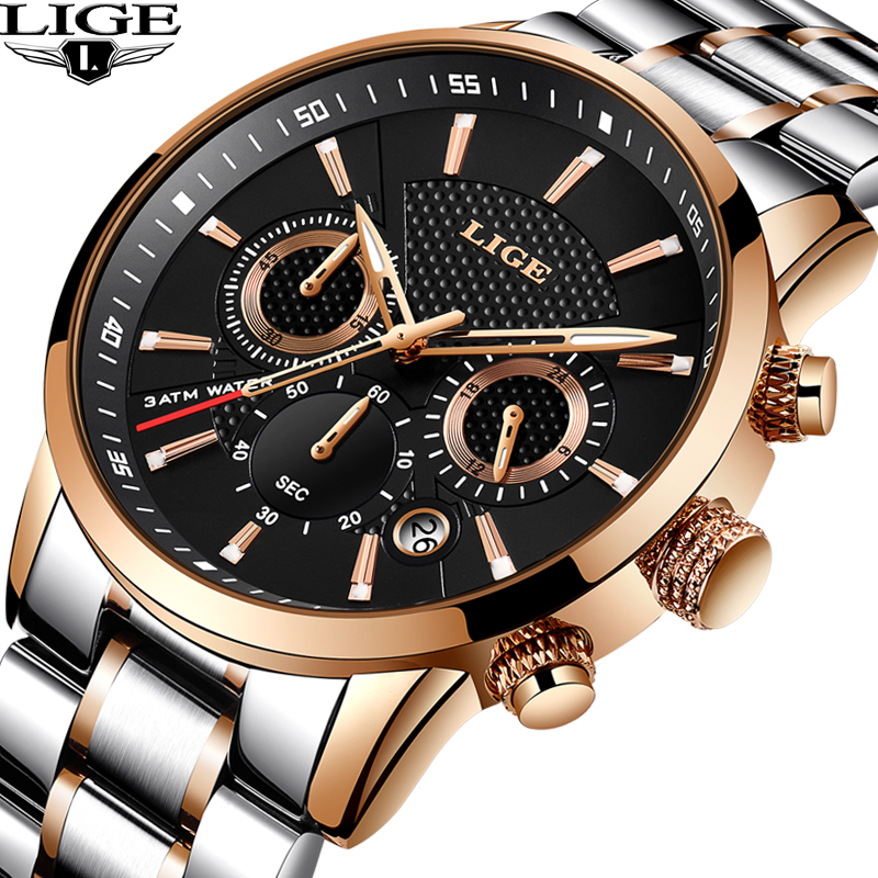 Top Luxury Brand LIGE Men's Watch Men Quartz Watches Business Sport Waterproof Casual Fashion Military Male Clock Reloj Hombre lige men watch top luxury brand men s business mechanical watches casual fashion sports waterproof military male clock clearance