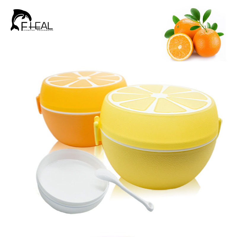 FHEAL Fruit Style Cutlery Plastic Lunch Bento Storage Box For Kids Microwave Bowl Food Container Plate Dinnerware Set(China (Mainland))