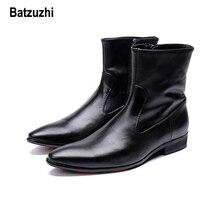 Batzuzhi Autumn Winter Boots Men Short Black Soft Leather Dress zapatos de hombre Cowboy Safty Knight botas hombre, 12