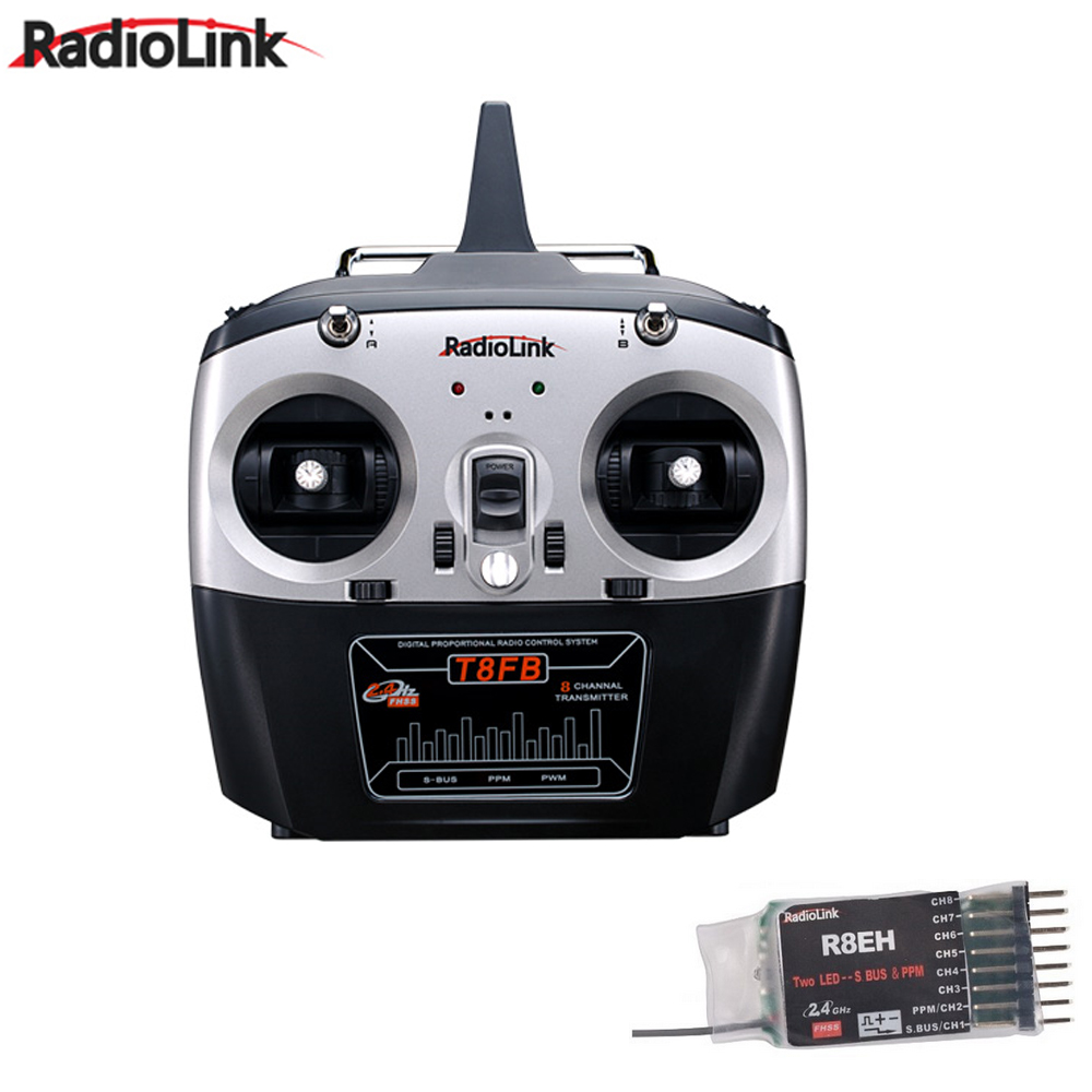 RadioLink T8FB 2.4GHz 8ch RC Transmitter R8EH Receiver Combo Remote Rontrol for RC Helicopter DIY RC Quadcopter Plane radiolink t8fb 2 4ghz 8ch rc transmitter with r8eh receiver combo remote rontrol for rc helicopter diy rc quadcopter plane