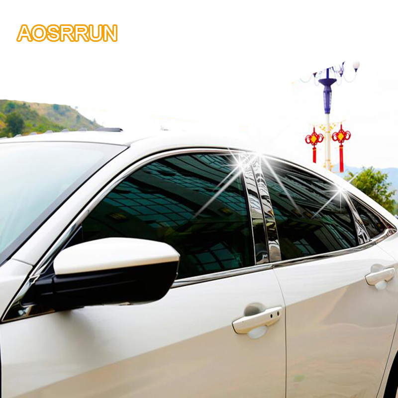 AOSRRUN The window of the stainless steel column is decorated with a window Cover Car accessories For Honda Civic 10th 2016 2017 dedicated to honda civic glass lifter assembly eight generations of civic 06 11 models after the left behind the main driving