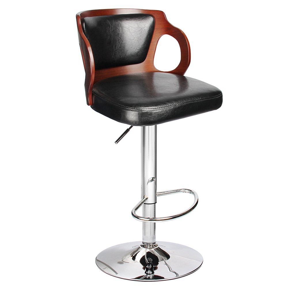 Homall Bar Stool Walnut Bentwood Adjustable Height Leather Bar Stools with Black Vinyl Seat Extremely Comfy with Seat Back Pad homall bar stool walnut bentwood adjustable height leather bar stools with black vinyl seat extremely comfy with seat back pad