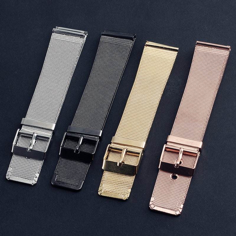 4 Color 20MM Stainless Steel Mesh Belt Watchbands Rose Gold Silver Black Watch Strap Women Man Bracelet Wristwatch Bands