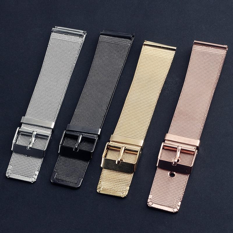 4 Color 20MM Stainless Steel Mesh Belt Watchbands Rose Gold Silver Color Black Watch Strap Women Man Bracelet Wristwatch Bands