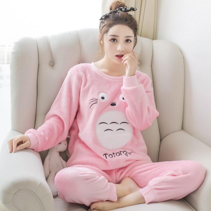 Women\\'S Autumn And Winter Pajamas Set Women Long Sleeve Sleepwear Flannel Warm Lovely Tops + Pants Sleep