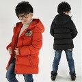 2016 Зимние Мальчики Ватные Куртки детская Одежда Верхняя Одежда Дети Куртка Пальто Моды Случайные Хлопка С Капюшоном Теплая Одежда