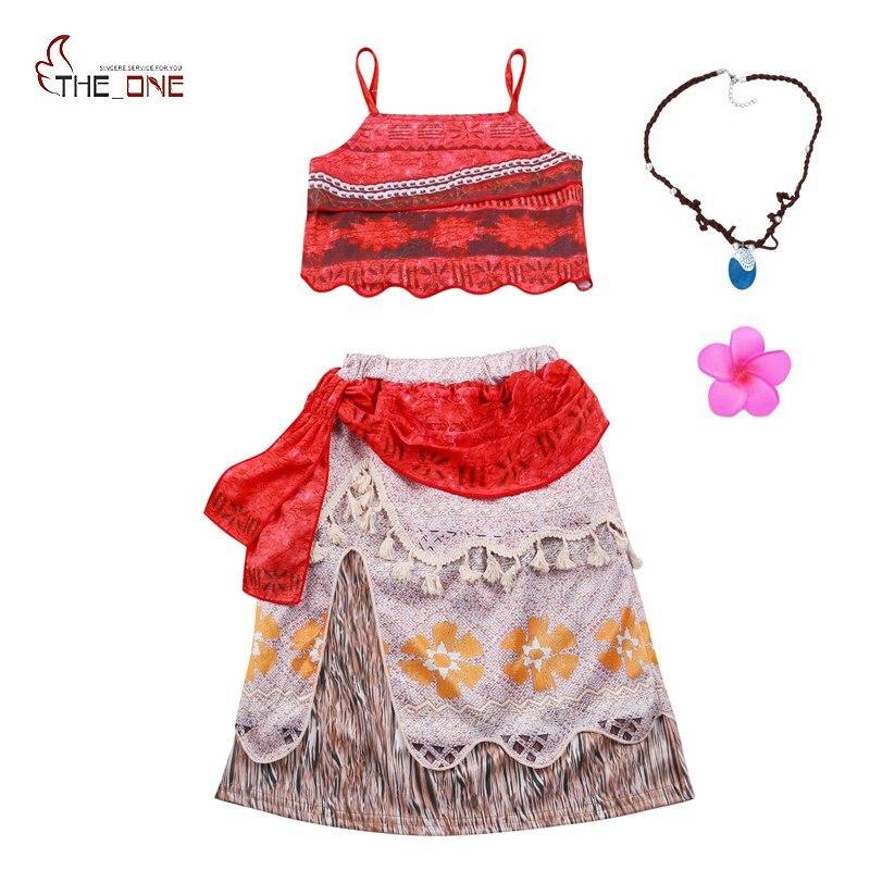 5b9ae40432f6c MUABABY Girls Moana Dress up Clothes Kids Summer Straps Vaiana Princess  Cosplay Costume Children 2 Pcs ...