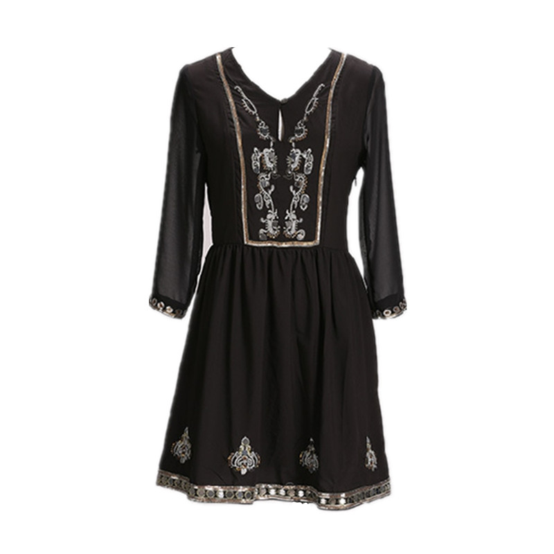 kenvy brand fashion high end spring indian national wind scales bead sequined patchwork dress. Black Bedroom Furniture Sets. Home Design Ideas