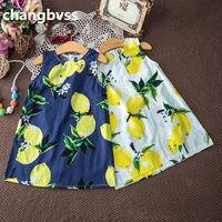Cute Lemon Print Baby Girl Clothes Summer Baby Girl Dress Sleeveless Girls Dress Flower Girls Dresses