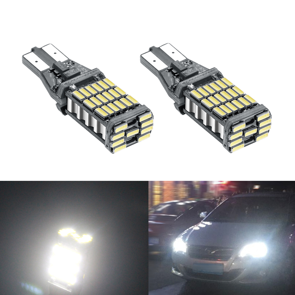 YIJINSHENG 2pcs Bright T15 Light 45SMD Car LED Auto T10 921 912 Reverse Lights Turn Signal Lights Canbus 6000K P21W Xenon White бра lorra 3227 1w odeon light 1202751
