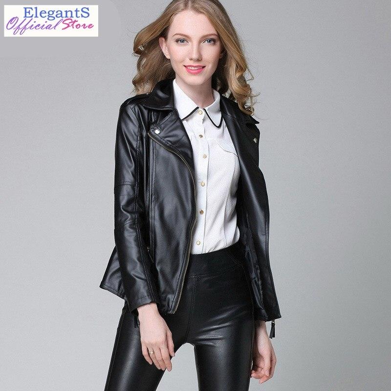 Women Faux   Leather   Jacket Coat Zipper Bomber Motorcycle Biker Jackets Black Basic Coats Lady Slim Windbreaker Autumn Outwear