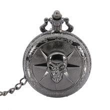 Hot Sale Clock Retro Steampunk Skull Cross Quartz Pocket Watch Men Women Necklace Pendant with Chain Watch