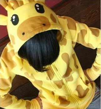 Animal Giraffe Hoodies with Ears Yellow Korean Fashion Women Couple Ear Hoodie Cute Cartoon Hooded Sweatshirt