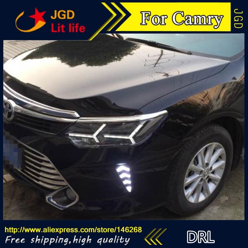 Free shipping ! 12V 6000k LED DRL Daytime running light for Toyota Camry 2015 fog lamp frame Fog light Car styling цена