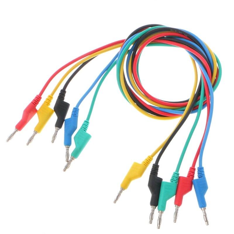 5 Pcs 4mm Fiche Banane Double Lisse Silicone Plomb Test Câble Pour Multimètre 1 m 5 Couleurs L15