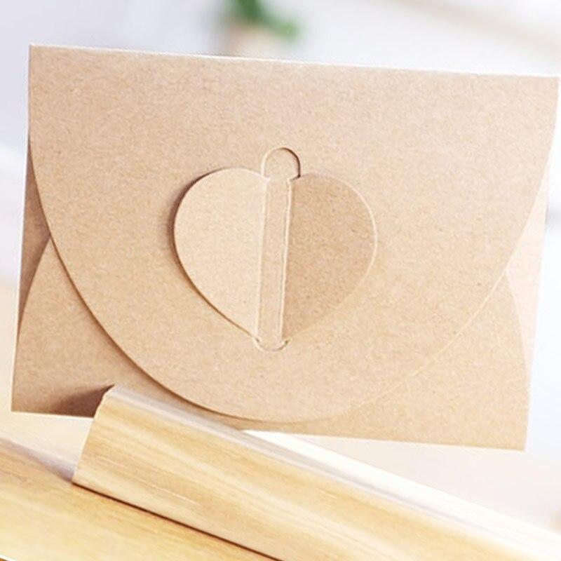 50pcs/lot Handmade Brown Paper Bag Mini Envelope Heart Kraft Vintage Envelopes Retro Stationery Set    Hot Sale