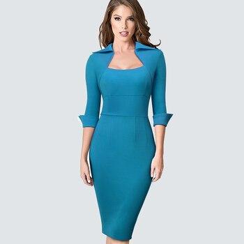 Autumn Professional Women Formal Sheath Bodycon Slim Elegant Work Business Office Lady Dress 3