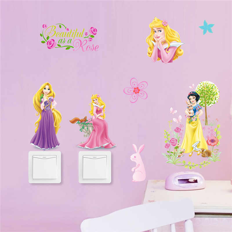 cartoon fairy Princess wall stickers for children kids bedroom wall decal art mural girls room switch decor diy poster