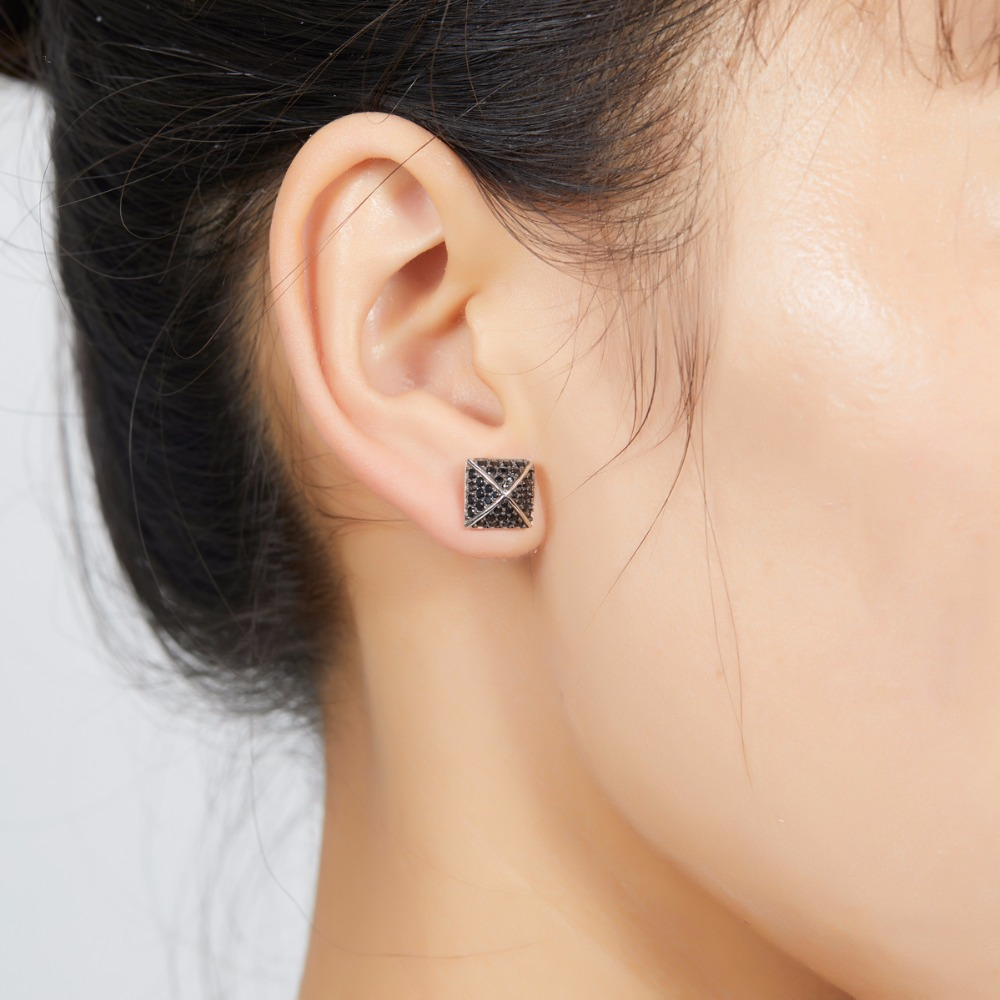 Hutang Genuine Gemstone Black Spinel Solid 925 Sterling Silver Pyramid Stud Earrings Fine Jewelry For Women S Gift New Arrival In From