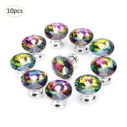 10 sztuk kolorowe szkło kryształowe uchwyt szuflady do szafki szafka szafa drzwi szufladowe przycisk uchwyt 30MM|Uchwyty szafek|   -