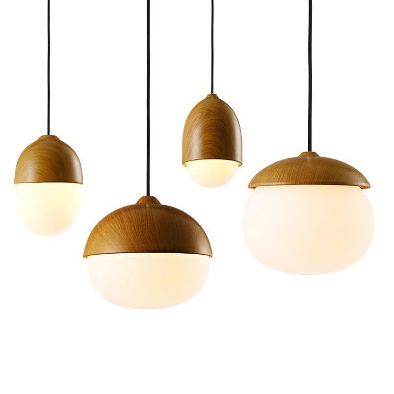 Moderne ontwerp kleine goedkope kopie houten kleur glazen hanglamp ...