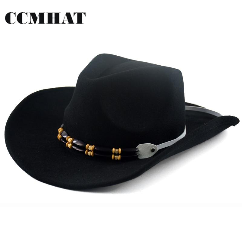 CCMHAT 100% Wool Cowboy Hat For Men Winter Black Caps Western Cowboy Hats  Novelty Wool Black Winter Cowboy Fedoras Hat For Women 250054c4bd0