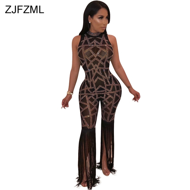7ad1d9424ac Shiny Rhinestones Sexy Romper Women Jumpsuit Black Sheer Mesh Patchwork See  Through Bodysuit Elegant Tassels Sleeveless