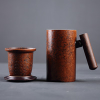 300ml Japan style Mugs with wood handgrip filter ceramic healthy tea cup Pottery anniversary gifts for husband office fengshui