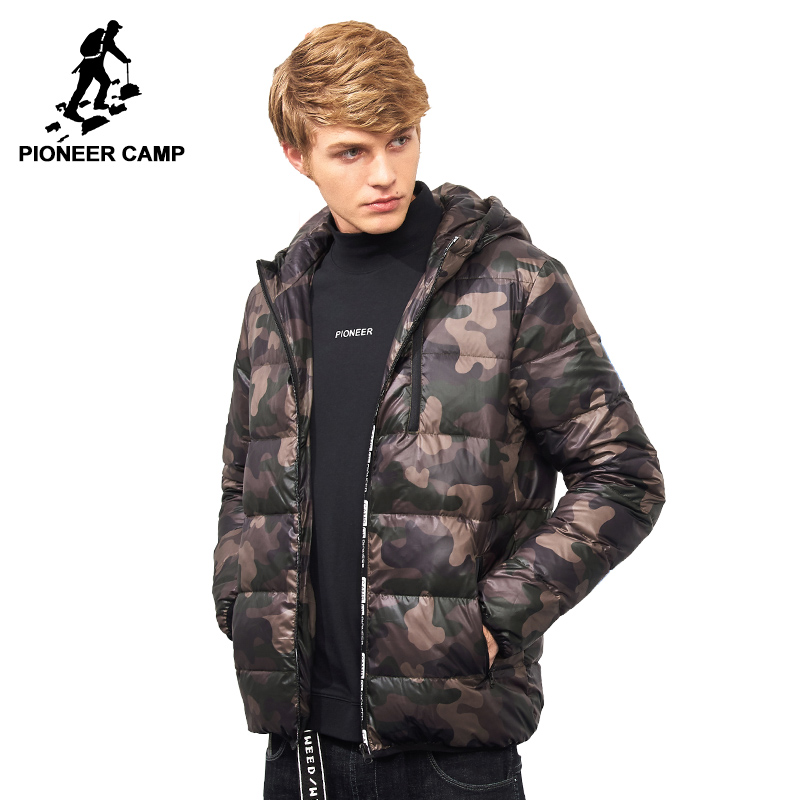 Pioneer Camp fashion camouflage light thin down winter jacket men brand clothing hooded 90% white duck down coat male AYR705173