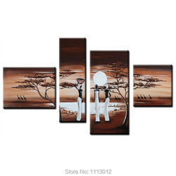 Nowoczesne afryki ludzi i żyrafa drzewo obraz olejny na płótnie 4 Panel Art Set domu streszczenie obraz do dekoracji ścian do salonu