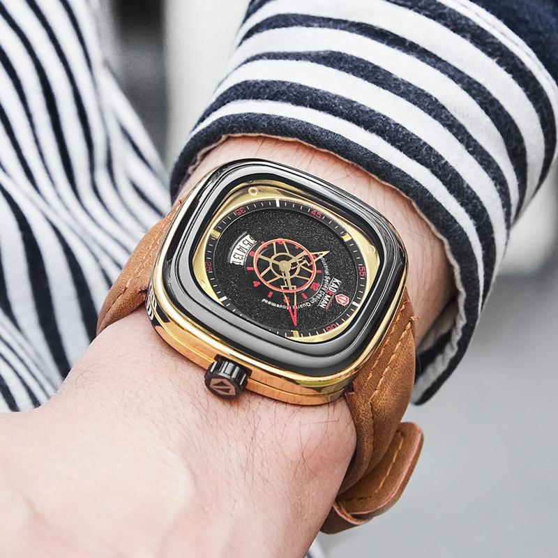 2019 hommes de luxe montres nouvelle mode carré Quartz montre haut marque KADEMAN décontracté en cuir montres affaires Relogio Masculino 4