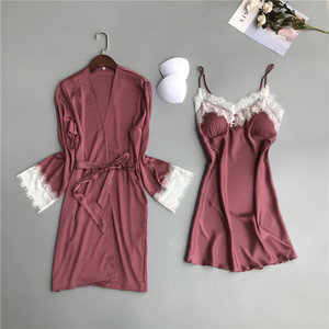 Image 3 - MECHCITIZ silk robe for women sexy summer bathrobe lace nightgown nightwear female sleepwear dress lingerie satin lounge set