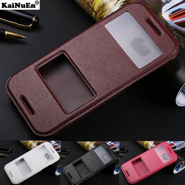 KaiNuEn luxury flip pu leather battery back coque,cover,case for htc one m8 m 8 stand window view original phone accessories